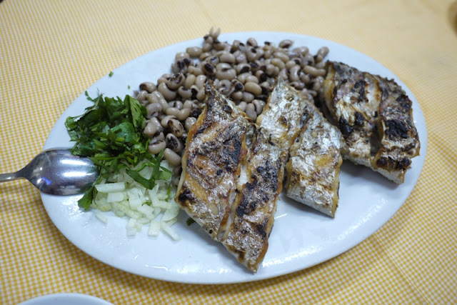 Portuguese grilled fish and beans