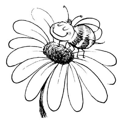 Pinto Dibujos: Colorear abeja polinizando