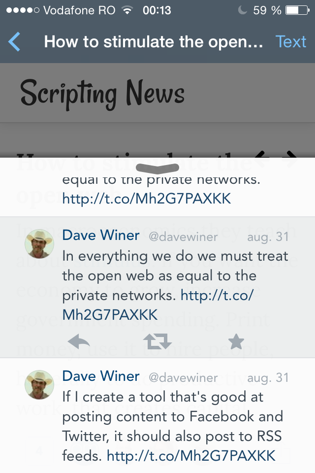 Options for the original tweet in the Nuzzel iOS app