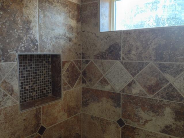 Tile & Stone Expertise: 18x18 ceramic Tub Surround w/ 6x6 diagonal band