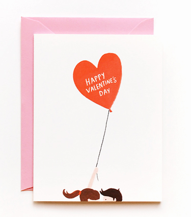 This one's a bit more romantic- http://riflepaperco.com/item/Valentine_s_Balloon_Card/145