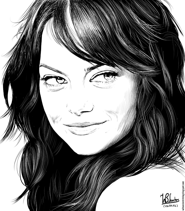 Ink drawing of Emma Stone, using Krita 2.4.