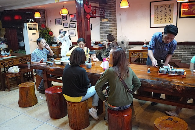 log stools at a restaurant in Changsha, China.