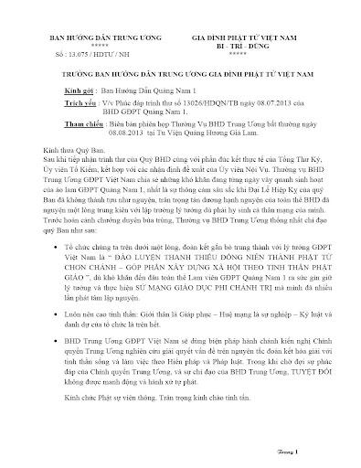Phúc đáp văn thư BHD.GĐPT Quảng Nam 1 về Lễ Hiệp Kỵ bị ngăn cấm