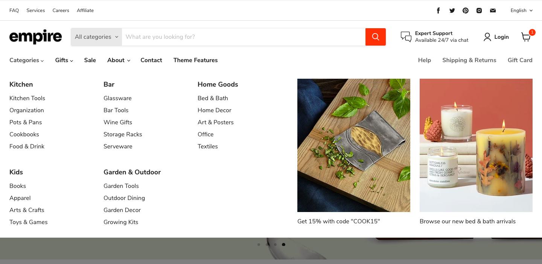 メガメニューは、クリックやマウスオーバーで開くドロップダウンメニューです。またメニュー上でオススメ商品や新商品のプロモーションを行うことも可能です。画面いっぱいにメニューを表示するため、サイト全体の構造を一覧表示したりサムネイルを表示して分かりやすくメニュー項目を案内することができます。