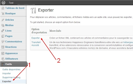 Exporter le blog Wordpress