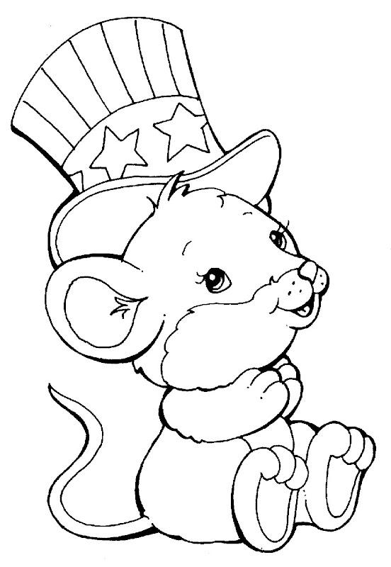 Imagenes de ratoncito con sombrero para colorear y pintar