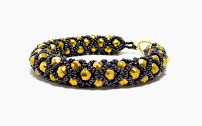 Black and Gold Netted Bracelet by FusionFrenzy