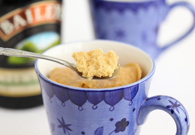 photo of a spoonful of Bailey's Irish Cream Mug Cake