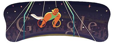 Google Doodle Männer turnen Ringe