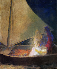 redon, boat, two, figures, 1902, journey, life, couple, sailing boat