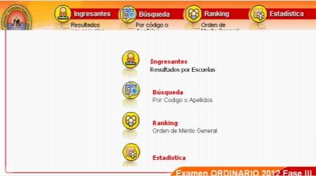 LISTA Ingresantes UNSA Examen ordinario fase III 01 Abril 2012 RESULTADOS
