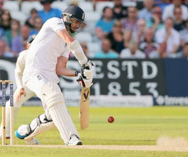 England's James Anderson during the third day of the first cricket Test match between England and India at Trent Bridge in Nottingham, central England on July 11, 2014.
