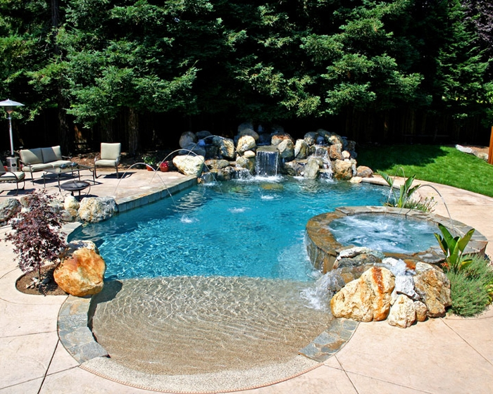 Overnightpools february 2011 Beach entry swimming pool designs