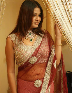 Actress Sangeetha in Red color Transparent Saree