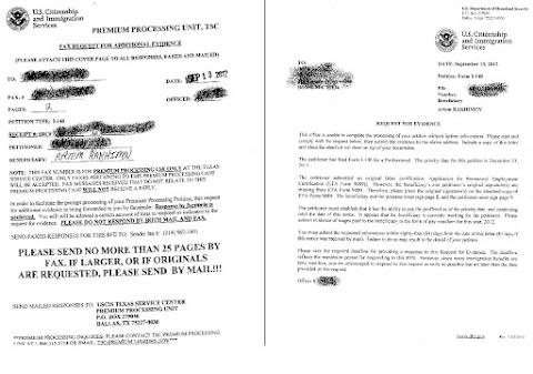 Иммиграционное, получили RFE: artementy