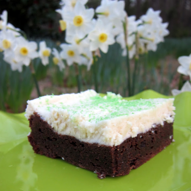Frosted Irish Cream Brownies - boxed brownies made with Bailey's Irish Cream and topped with a homemade Bailey's Irish Cream frosting. SOOOOO delicious! Perfect for St. Patrick's Day!