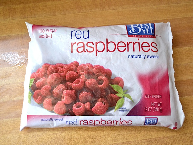 package of frozen raspberries