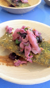 Feast 2014, Tillamook Brunch Village participant Maggie's on the Prom from Seaside who represented the Oregon Coast with Razor claim ceviche with huckleberries and hazelnuts and housemade kale chip