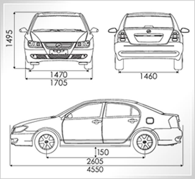 Lifan 620 - dimensões externas