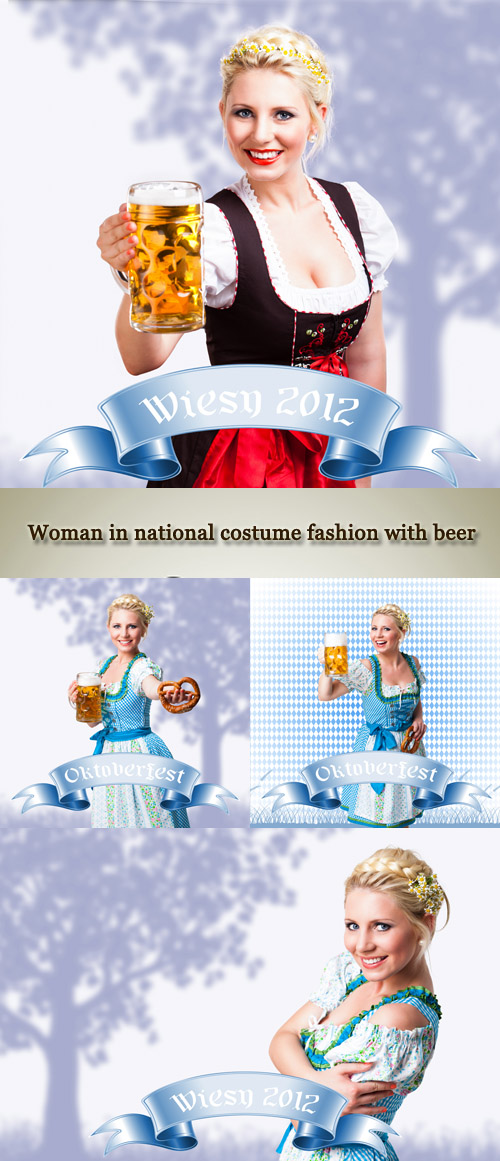 Stock Photo: Woman in national costume fashion with beer