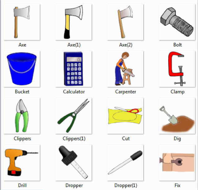 carpenter tools name. axe, bolt, bucket, calculator, carpenter, clamp, clippers, cut, dig, drill, dropper, fix carpenter tools name e