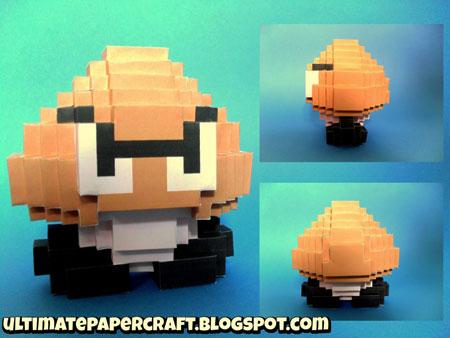3D 8Bit Goomba Papercraft
