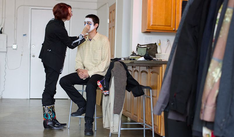 DoD Men's Black Britches Phil getting makeup done