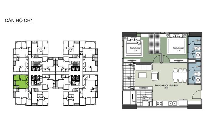 Thiết kế căn hộ CH1 70,2m2 thông thủy