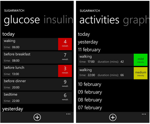 sugarwatch app for WP7