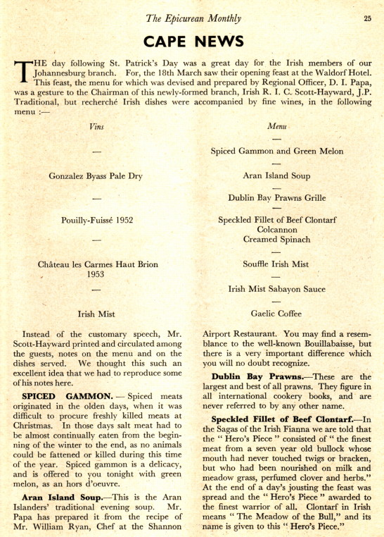 Epicurean Monthly May 1957 | Waldorf Hotel Menu