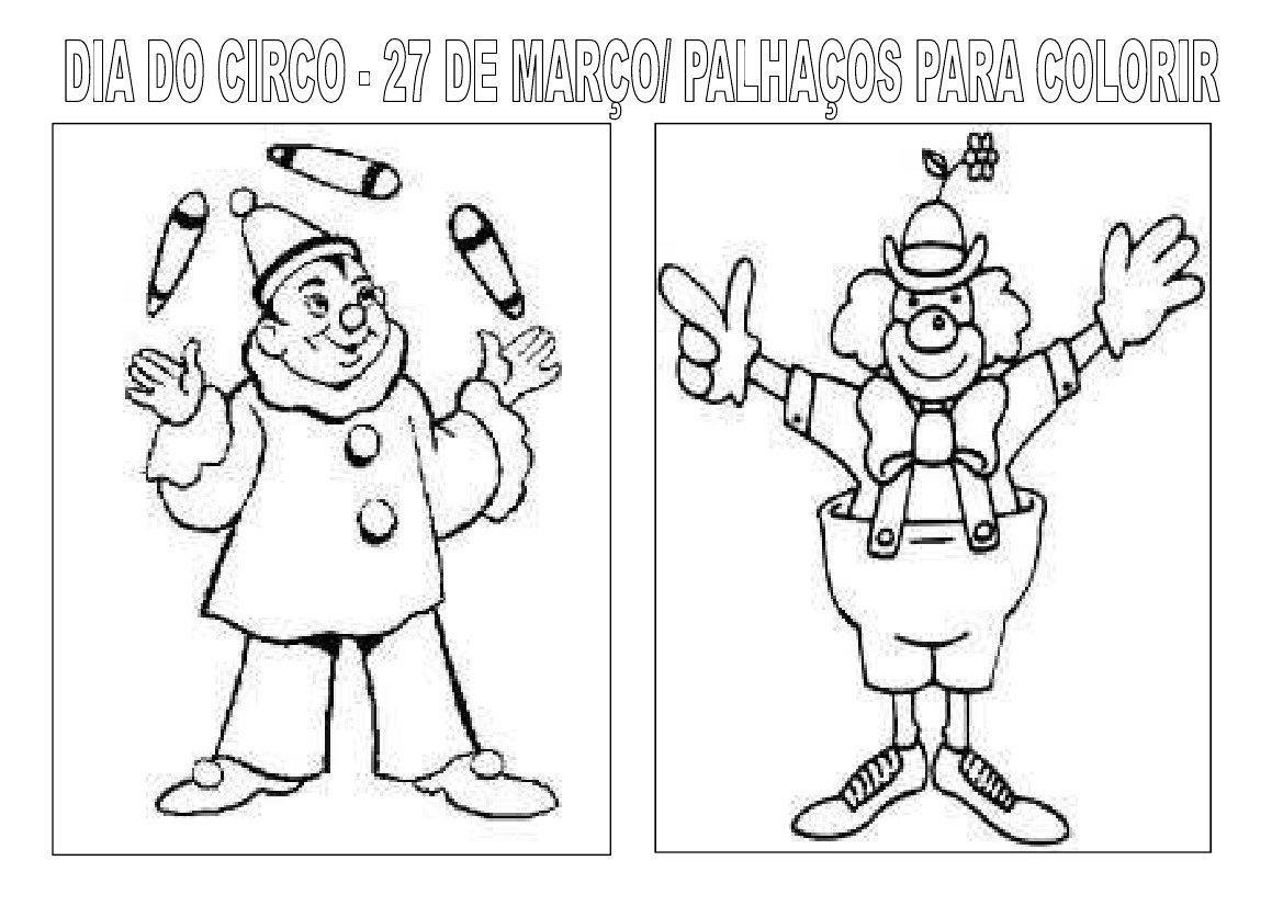 varal de atividades dia do circo palhaÇos para colorir 1