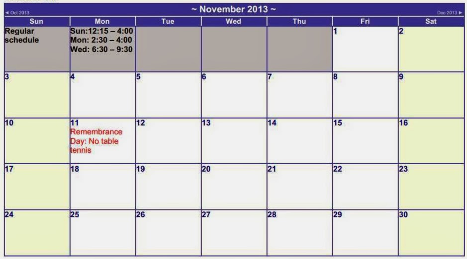 November schedule for the TT sessions