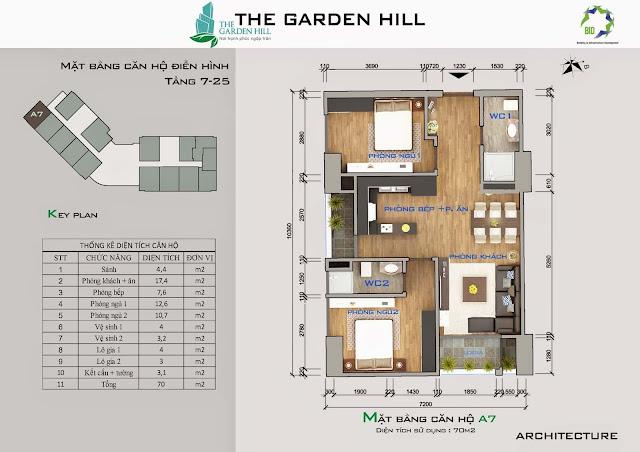 Căn A7 tầng 7 đến 25 garden Hill - 99 Trần Bình
