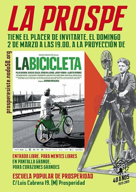 Cine 'La bicicleta' domingo 2 de marzo en la Prospe