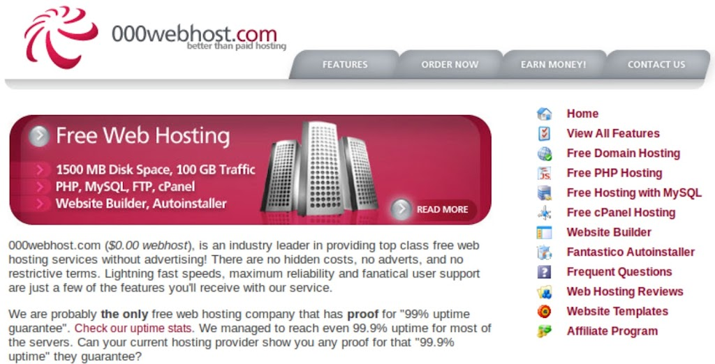 000webhost Screenshot