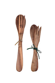 Long-handled olive wood servers