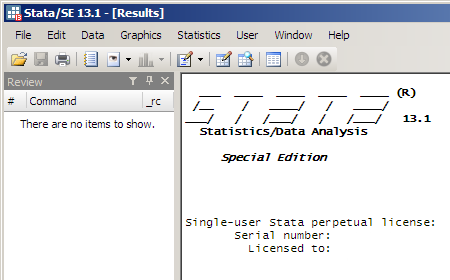 Stata/SE 13.1 program window
