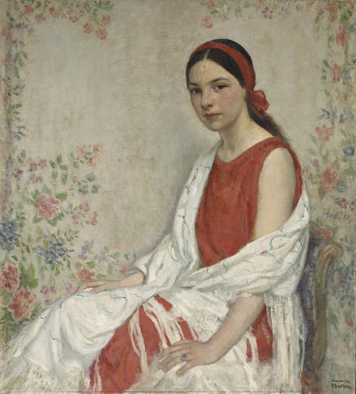 Francis Luis Mora - Seated women with a white wrap and a red ribbon