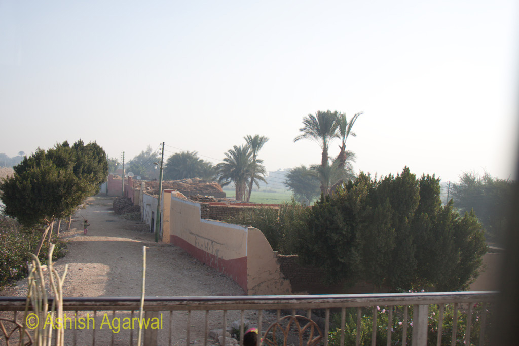 View of Egyptian countryside as we head for Valley of the Kings in Luxor