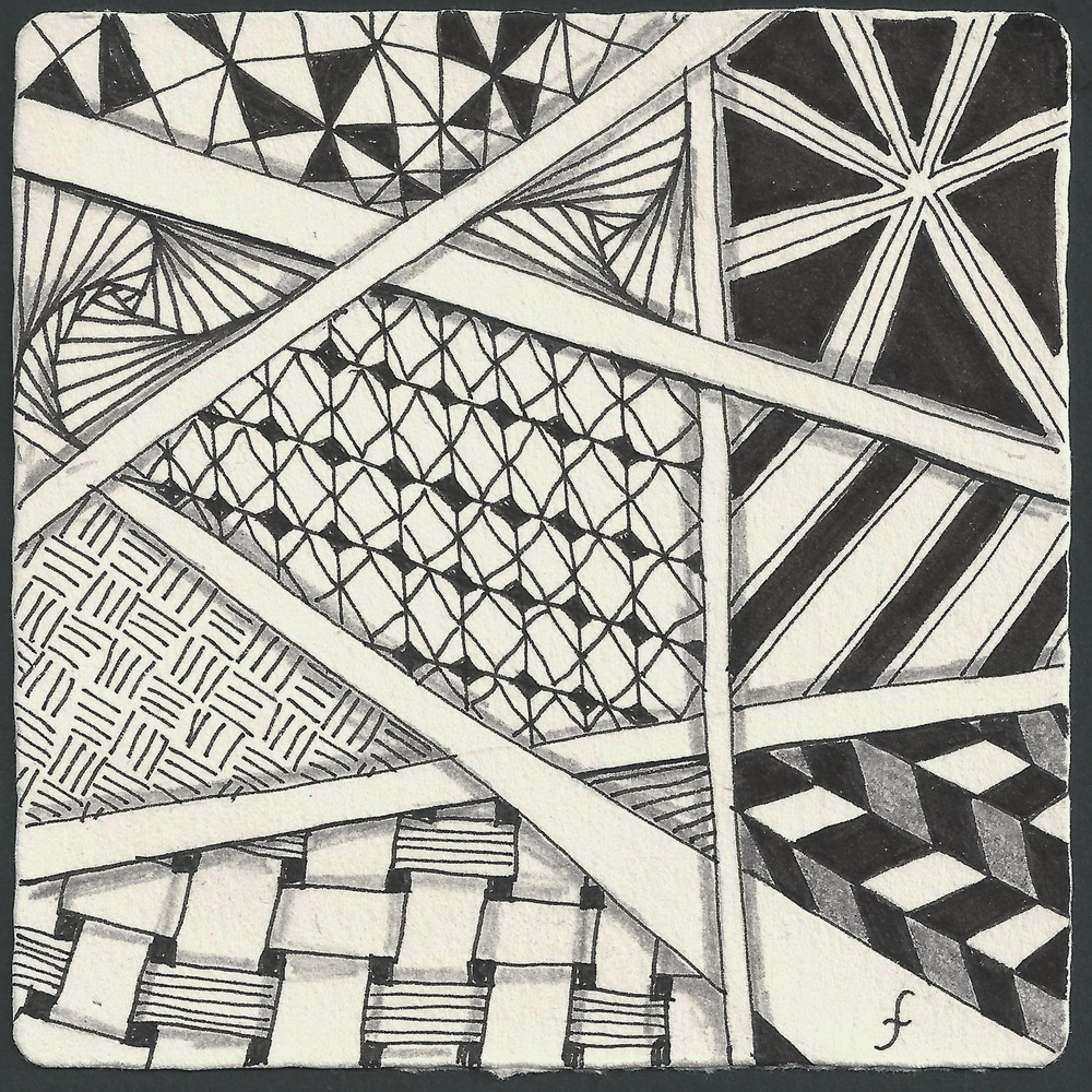 Line Drawing Zentangle : Pattern play with pens march