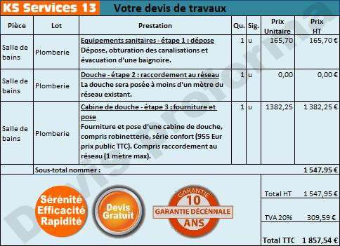 Ks services 13 prix devis cabine de douche fourniture for Prix pose cabine de douche