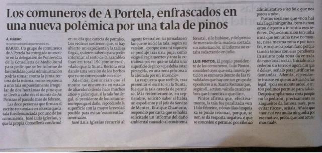 Los comuneros de A Portela, enfrascados en una nueva polémica por unatala de pinos.