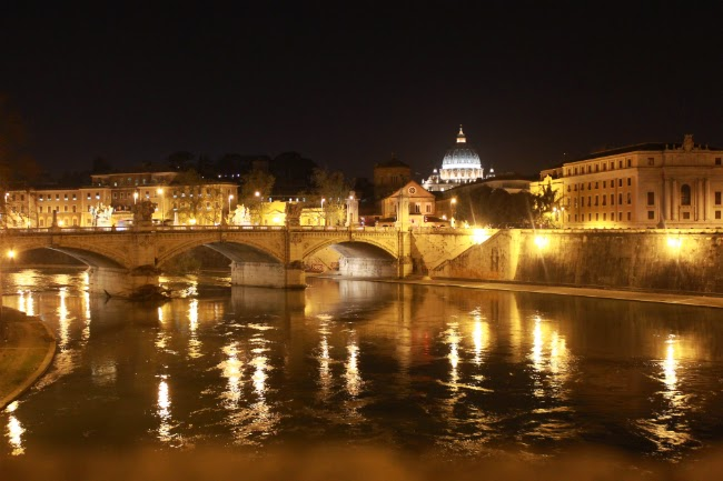 reflection tiber river rome vatican ponte sant angelo bridge