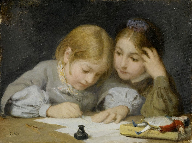 Albert Anker - Schreibunterricht 1865