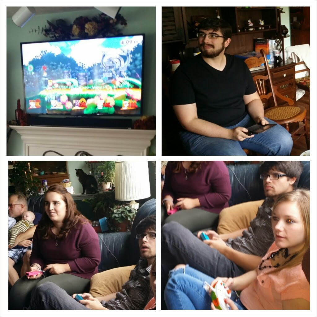 playing Super Smash Bros