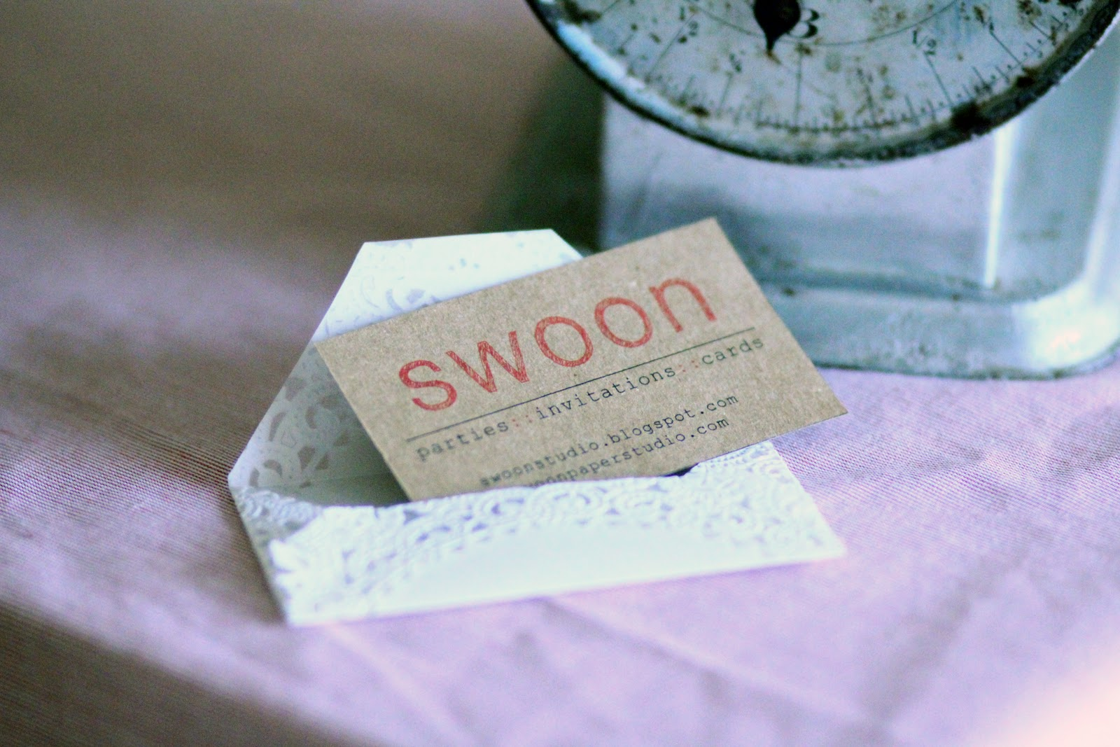 swoon studio: Business cards + Doily envelope tutorial