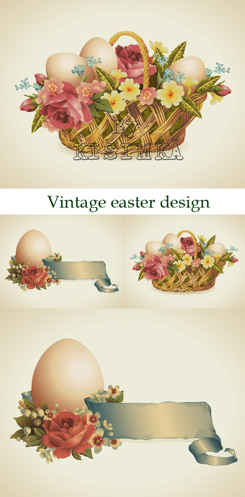 Stock: Vintage easter design element with flowers