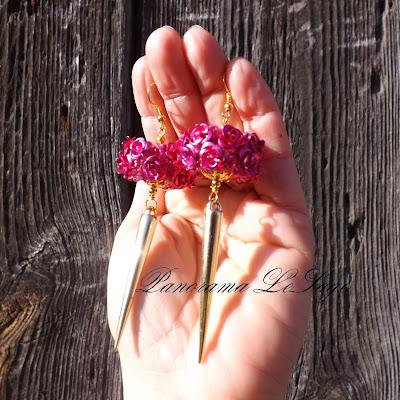 Panorama LeSage kolce kolczyki róże z kolcami ćwieki kolczyki długie szydełkowe biżuteria szydełkowa modelina fimo złoto srebro fuksja fiolet turkus koraliki szklane wiosenne kolczyki lato wystawne lekkie kolce ćwieki