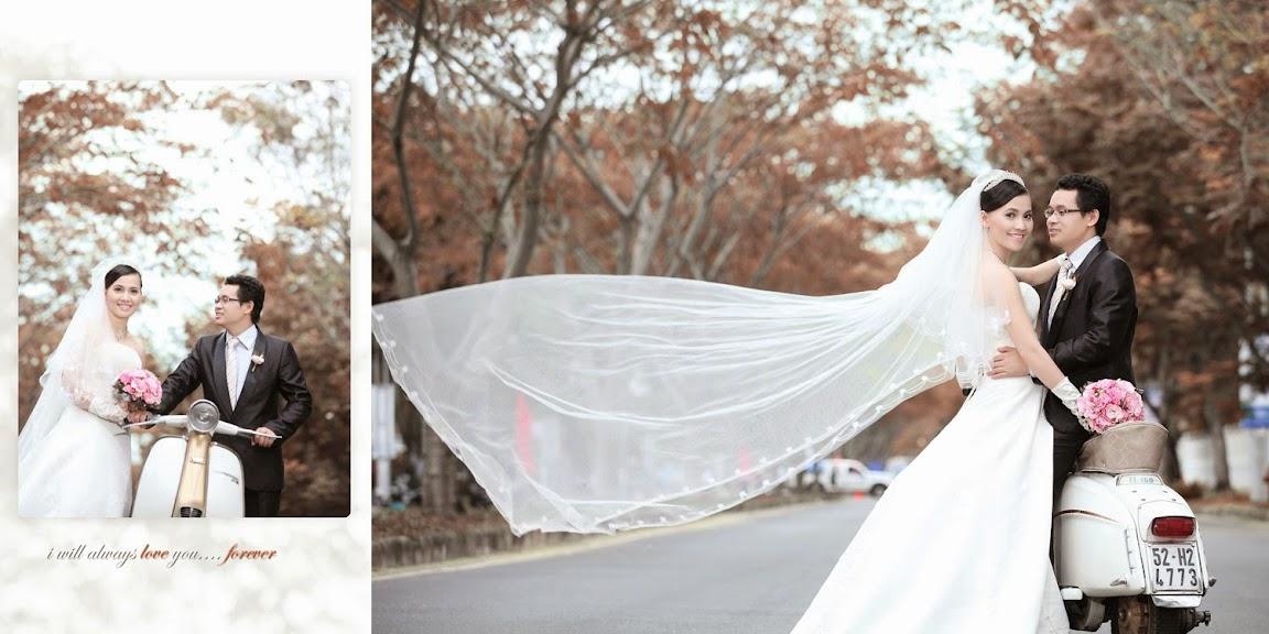 Tư vấn cách chọn váy cưới ngắn tay bầu xòe khăn vôn khi chụp hình cưới